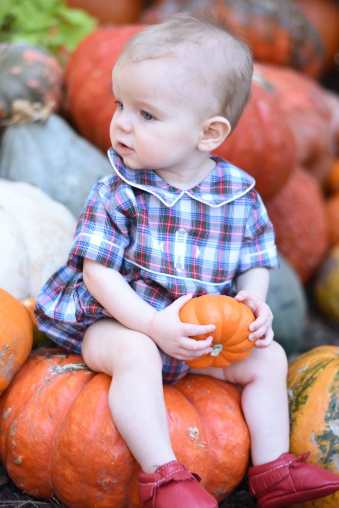 baby sitting on a pumpkin holding a mini pumpkin