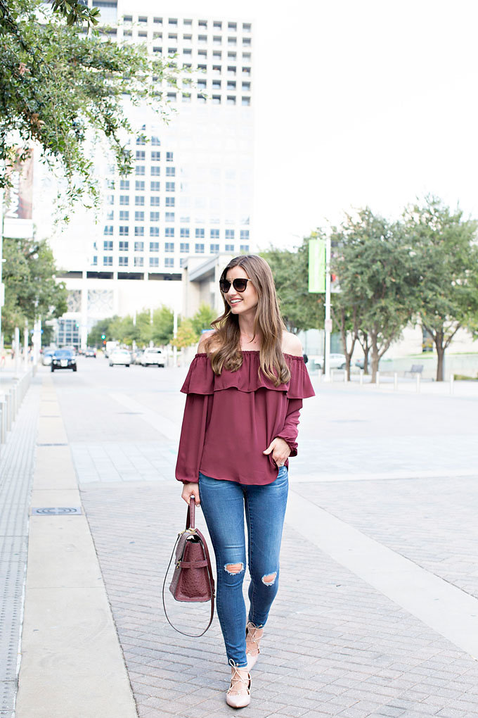 ead6ea44e5 Burgundy off the shoulder top with distressed jeans