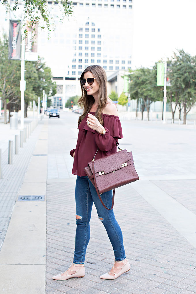 Burgundy off the sholder top with matching tote bag and blush pink lace up flats
