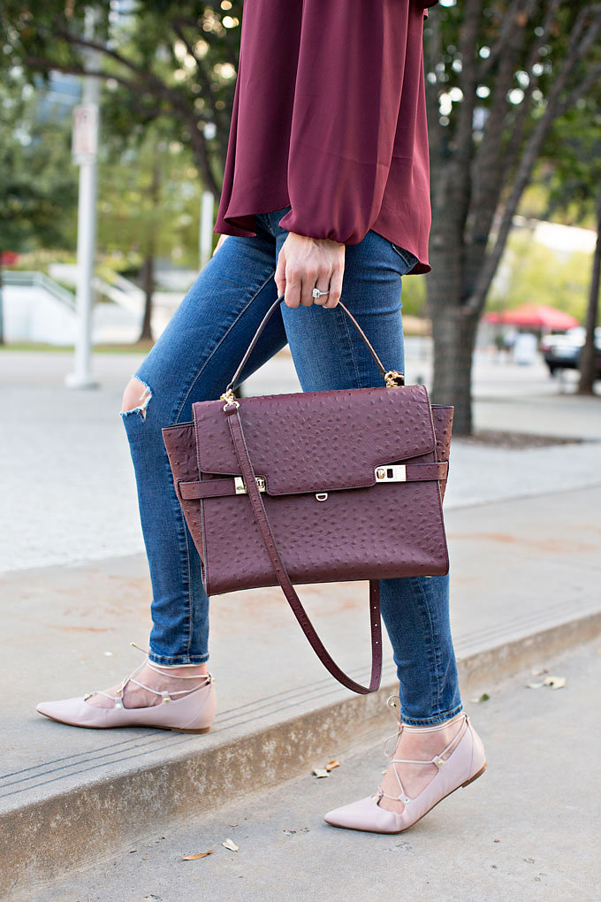 burgundy stachel in embossed crocodile with lace up flats