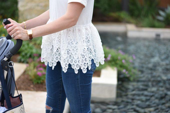 white lace peplum top