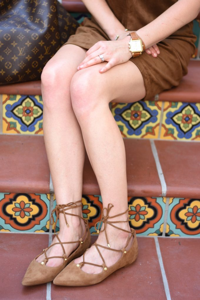 brown suede lace up flats