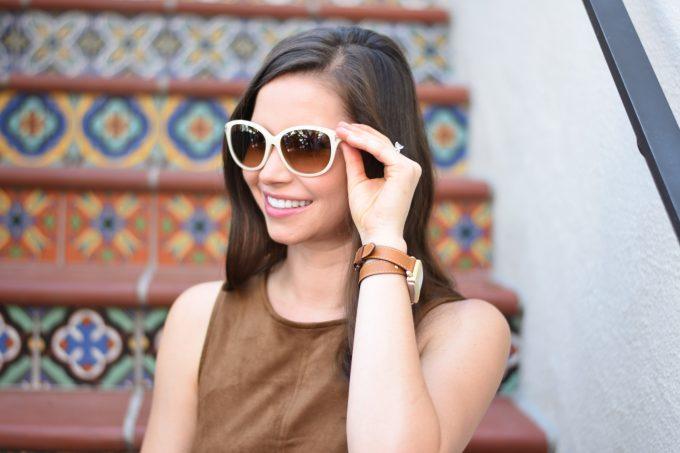 white sunglasses, brown wrap watch strap
