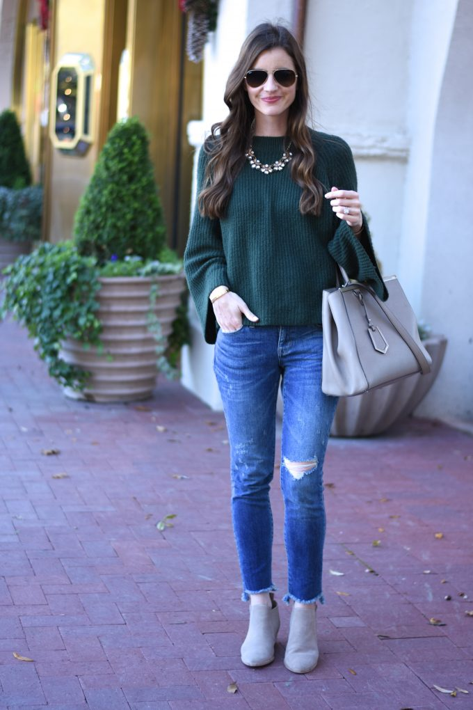 green bell sleeve sweater, distressed jeans