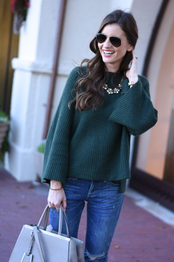green bell sleeve sweater, statement necklace