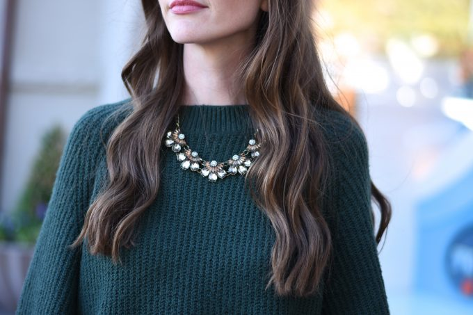 statement necklace, green sweater