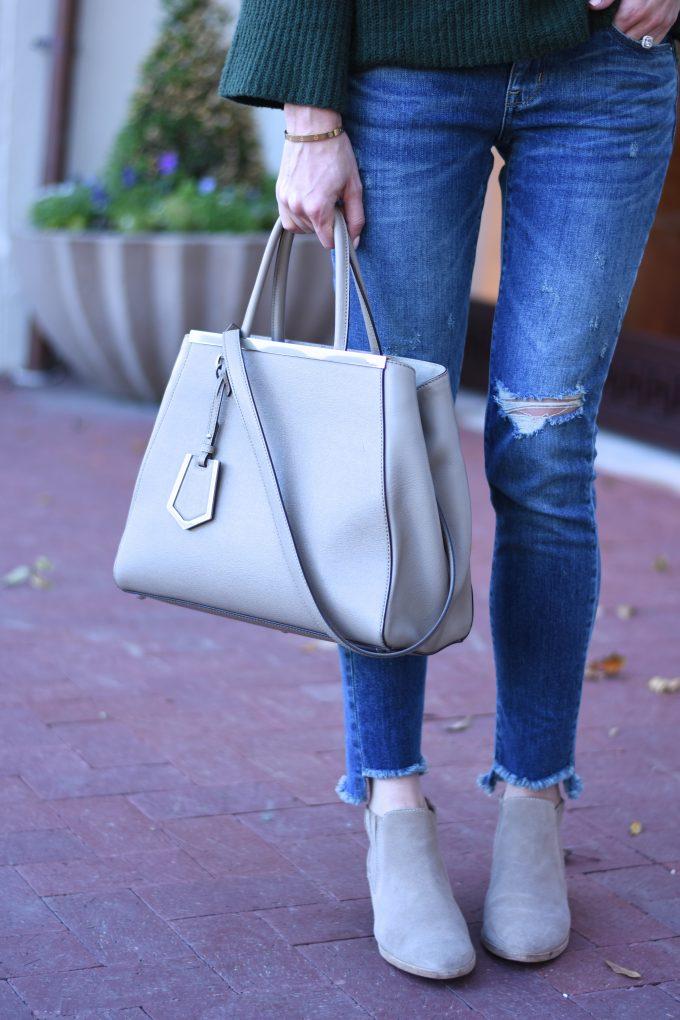grey handbag, grey suede bootits