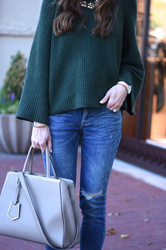 green bell sleeve sweater, gray handbag