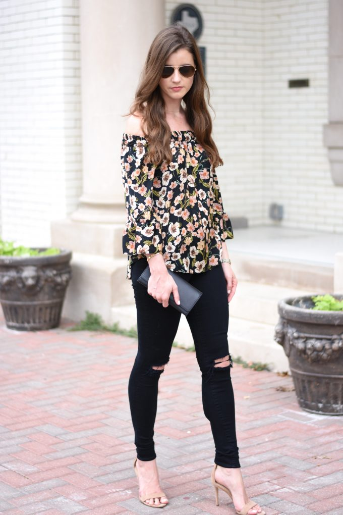 floral off the shoulder top, distressed black jeans, black clutch
