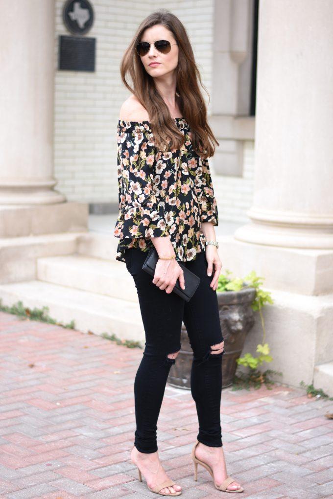 floral off the shoulder top, distressed black jeans, nude sandals