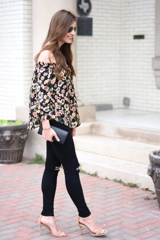 floral off the shoulder top, black jeans, black clutch