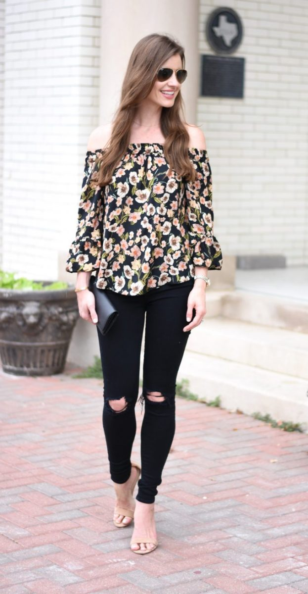 floral off the shoulder top, distressed black jeans