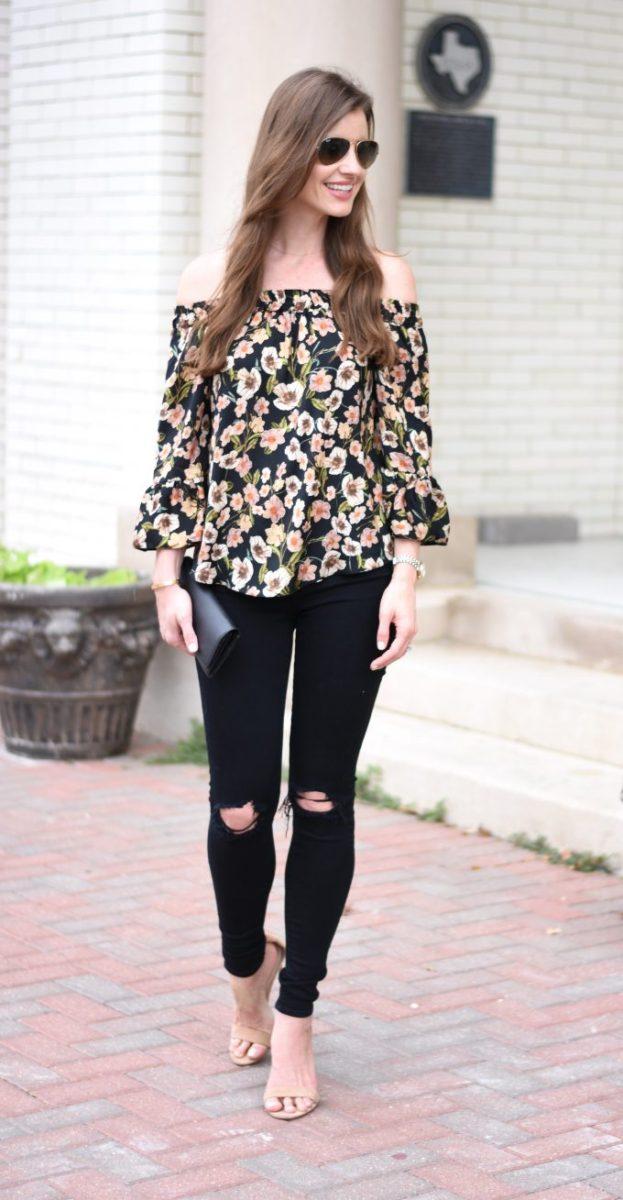 floral off the shoulder top, distressed black jeans