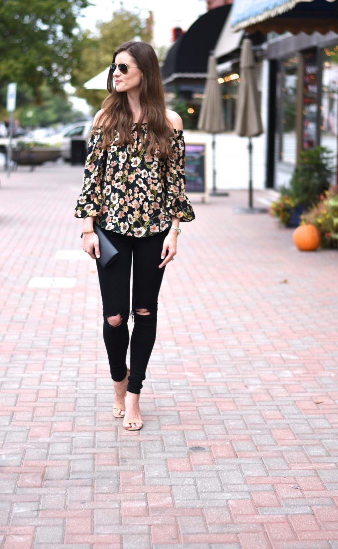 floral of teh shoulder top, distressed black jeans