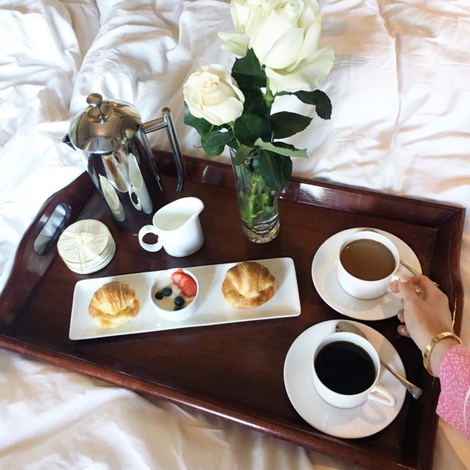 |woke up to breakfast in bed at hotel les mars every morning|