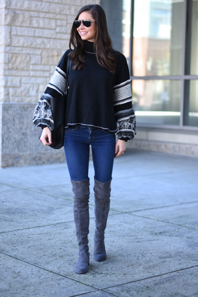 knit sweater with bell sleeves, grey suede over the knee boots