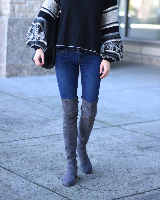 grey suede lowland over the knee boots