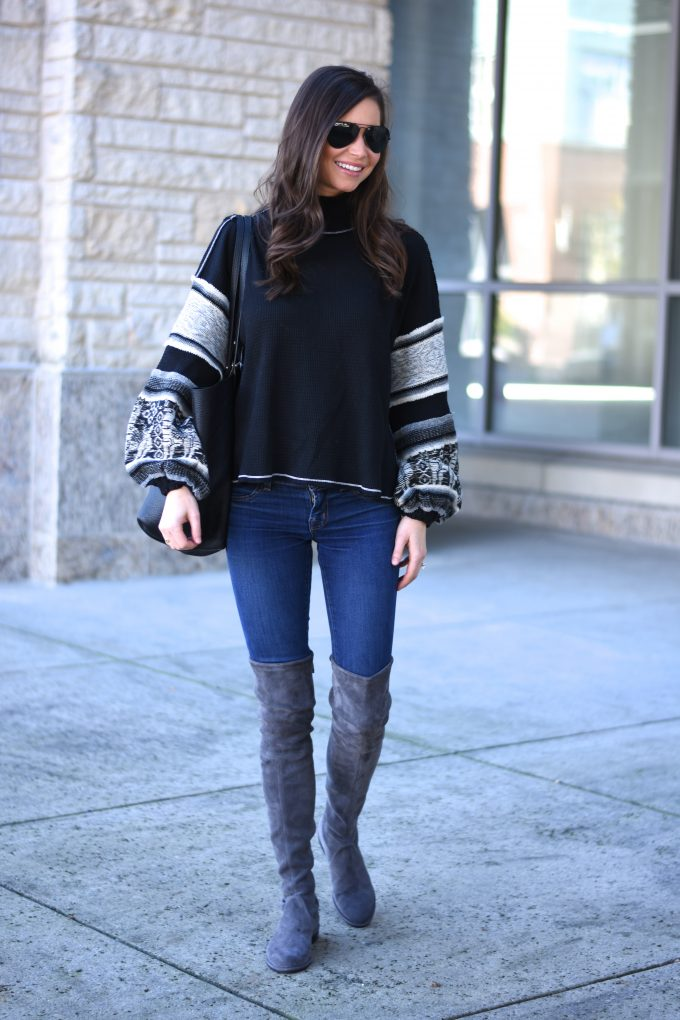 knit sweater with bell sleeves, grey over the knee boots