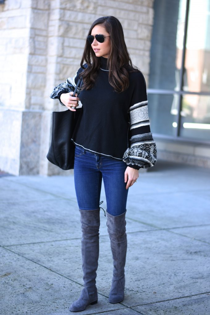 knit sweater with bell sleeves, black tote bag, grey over the knee boots