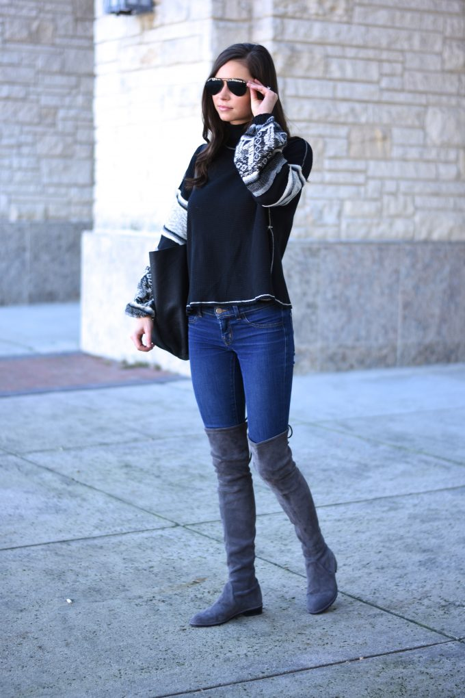 knit sweater with bel sleeves, grey over the knee boots