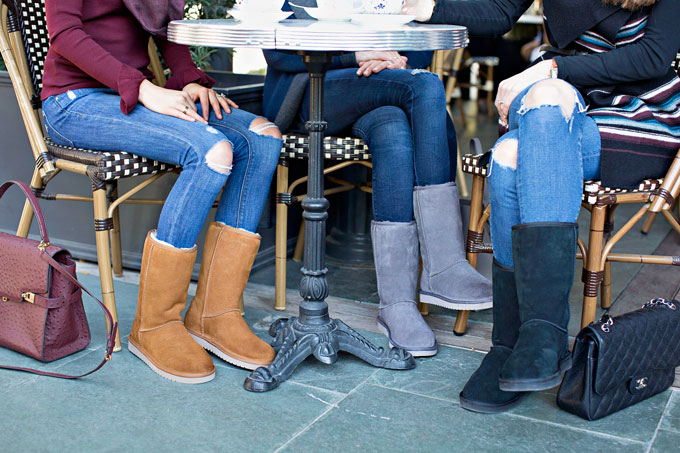 cozy boots in grey, black and camel