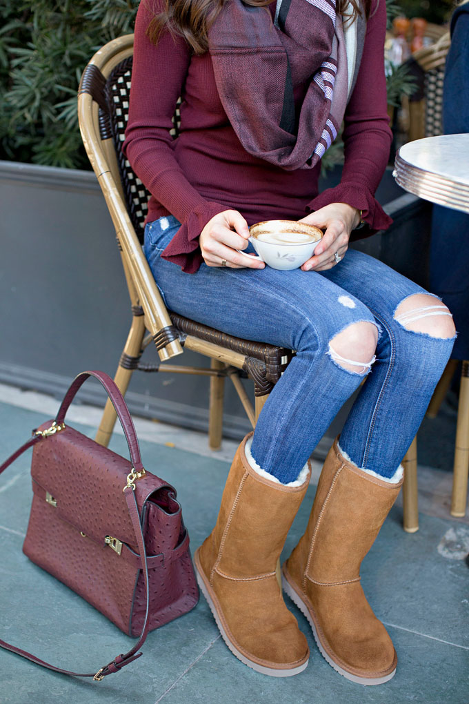 camel ugg boots and distressed jeans