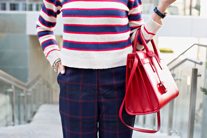 red, ivory and blue striped cropped sweater, red handbag
