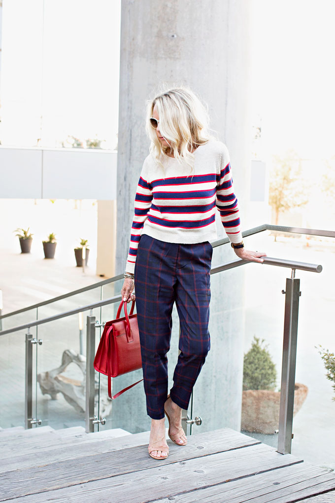 mixing prints witha striped sweater and plaid pants