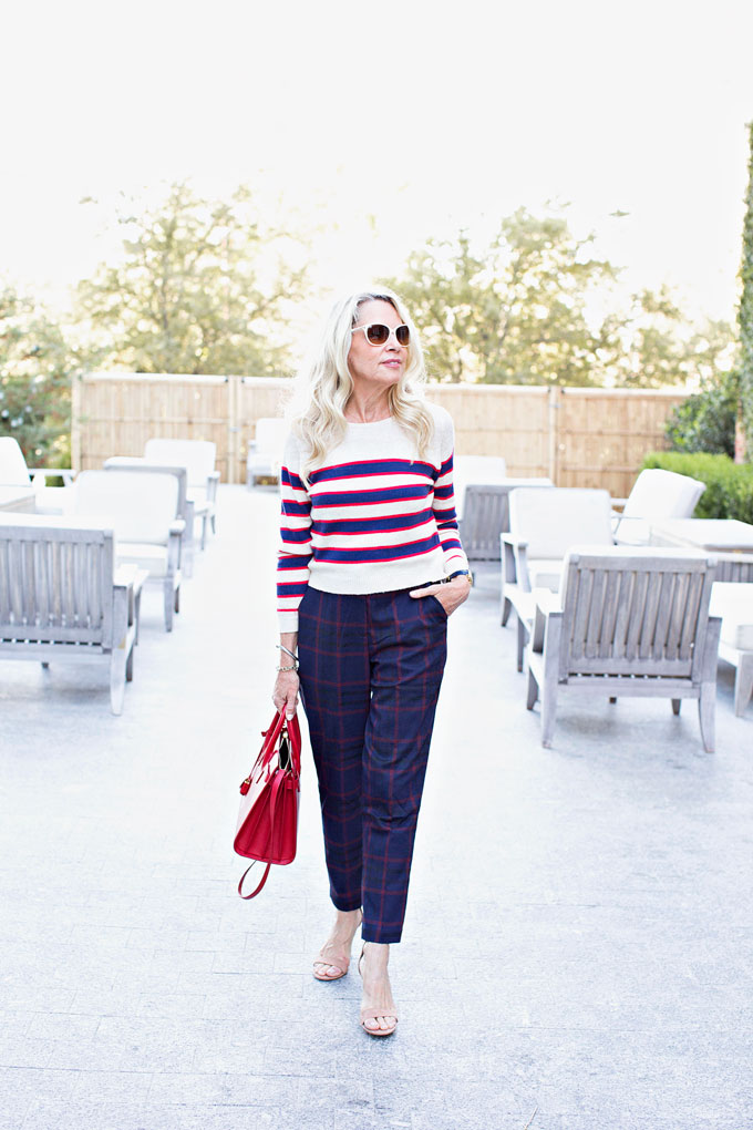 striped cropped sweater with plaid pants and neutral sandal