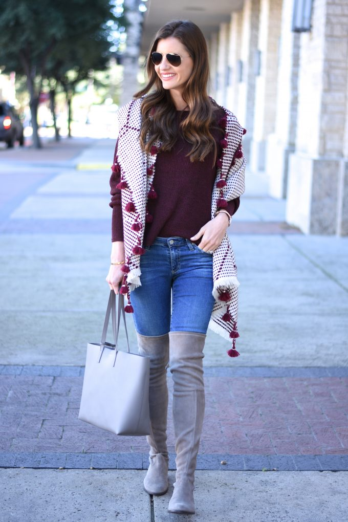 oversized scarf with pom pom fringe, grey tote bag, grey over the knee boots