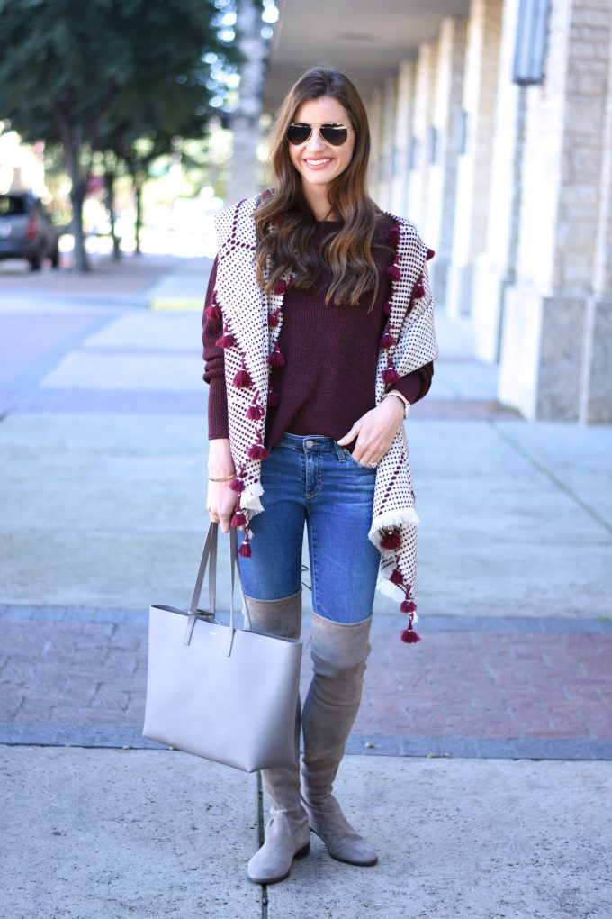 oversized scarf with pom pom fringe, grey tote bag