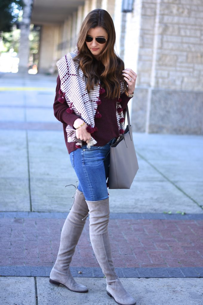 pom pom trim scarf, burgundy sweater, grey over the knee boots