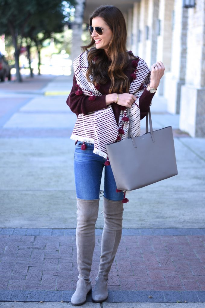 grey tote bag, grey suede over the knee boots,