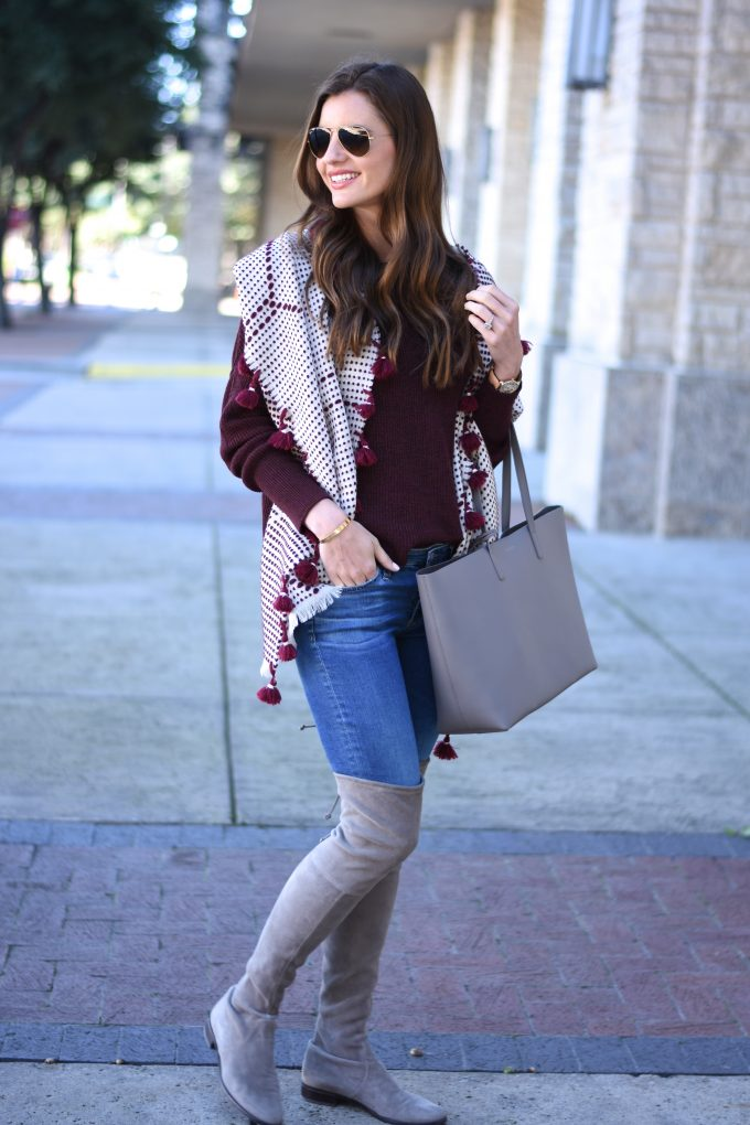 pom pom oversized scarf, grey tote bag, grey over the knee boots