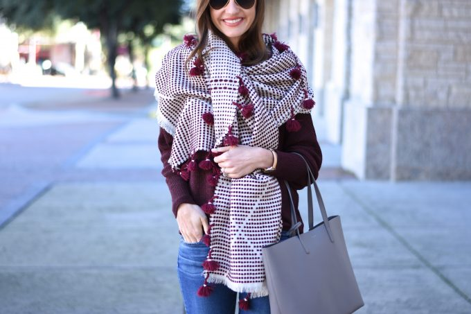 pom pom fringe oversized scarf