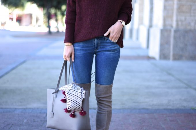 burgundy sweater, grey over the knee boots, grey tote bag