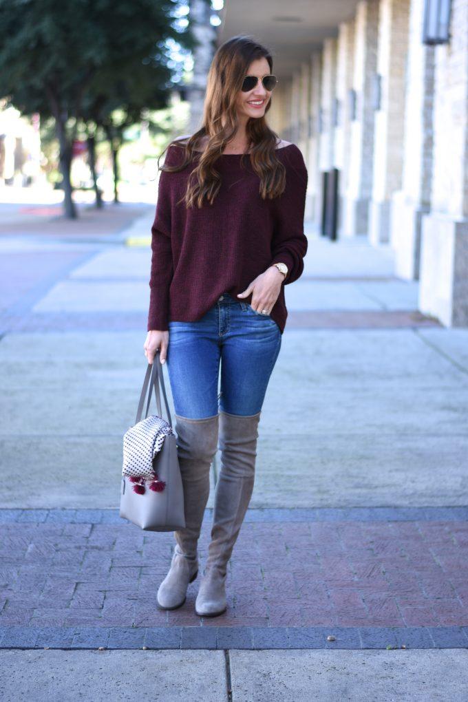 burgundy off the shoulder sweater, grey over the knee boots, grey suede over the knee boots