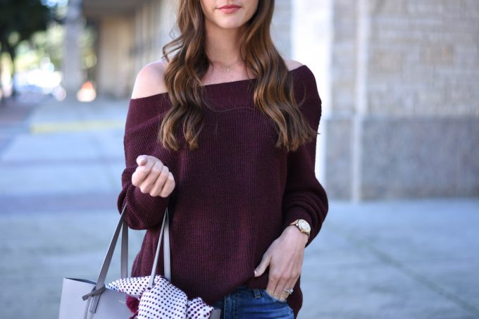 burgundy off the shoulder sweater,