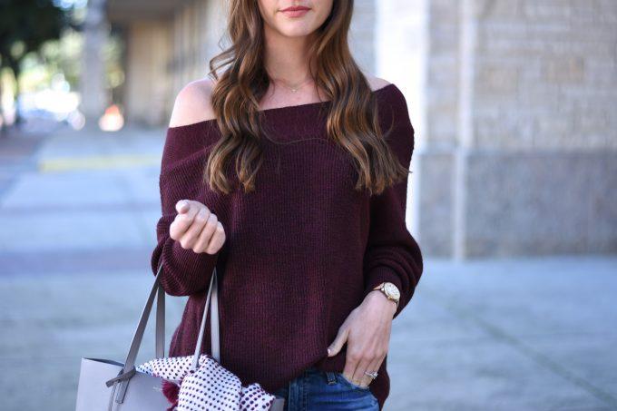 burgundy off the shoulder sweater,