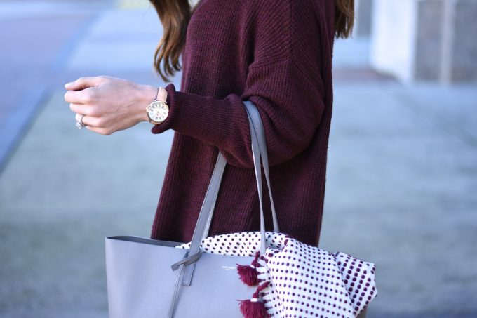 grey tote bag, burgundy sweater