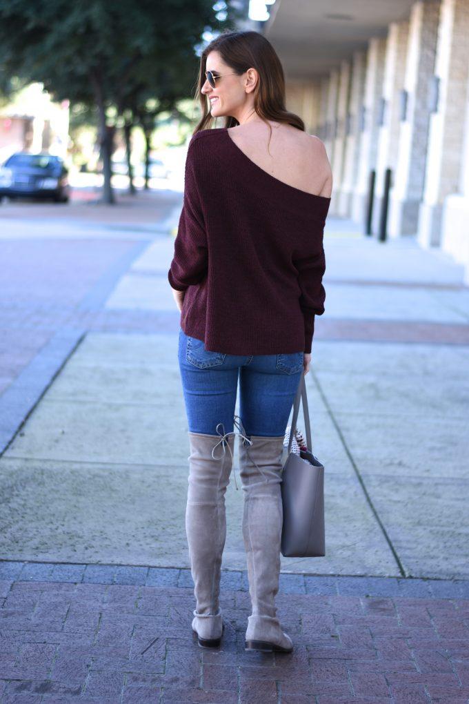 burgundy off the shoulder, grey over the knee boots, grey tote bag