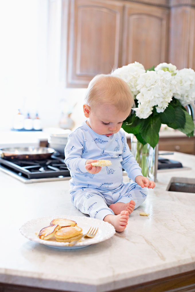 baby eating pancakes