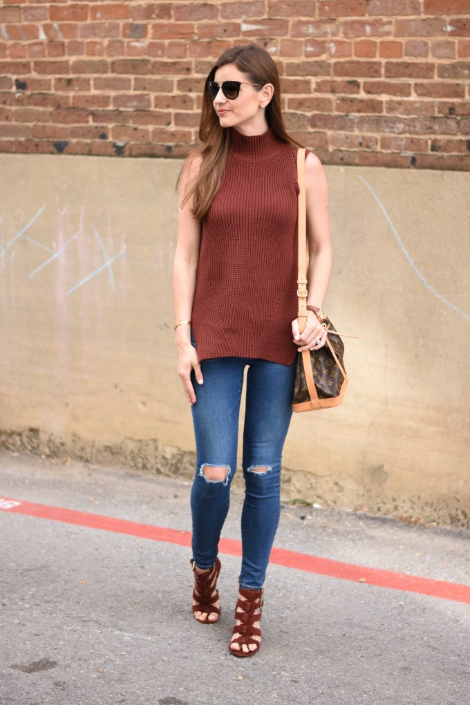 sleeveless sweater, distressed jeans