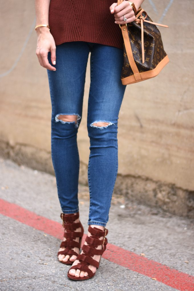 distressed jeans, burgundy strappy sandals