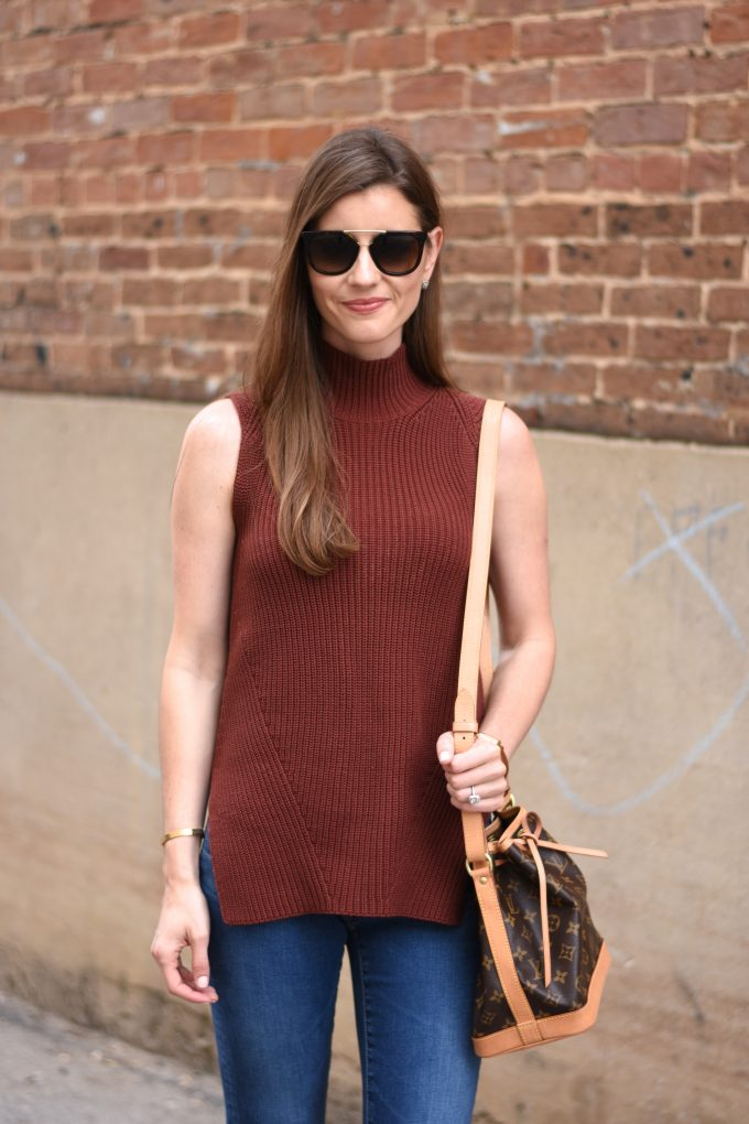 oxblood sleeveless sweater