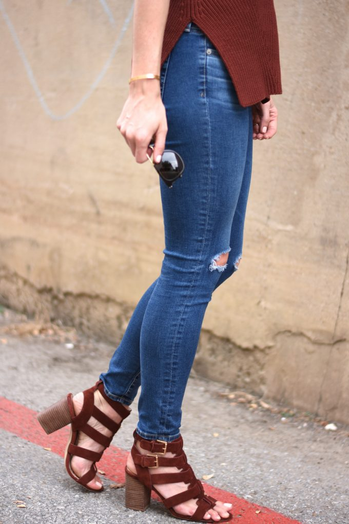 distressed jeans, burgundy sandals