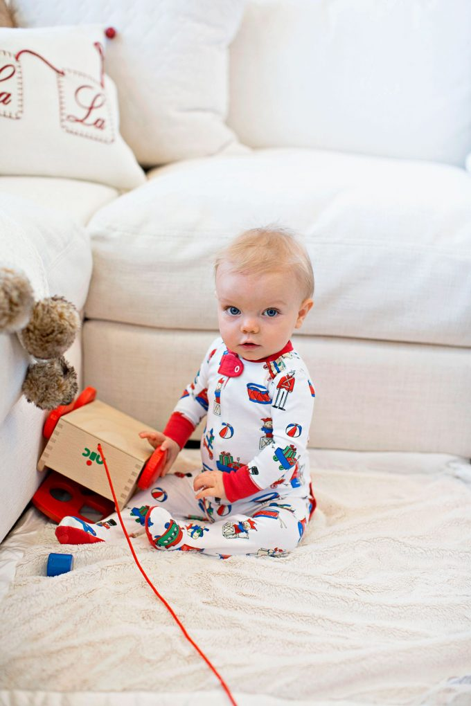 baby boy Chirstmas pajamas, wooden block cart toy