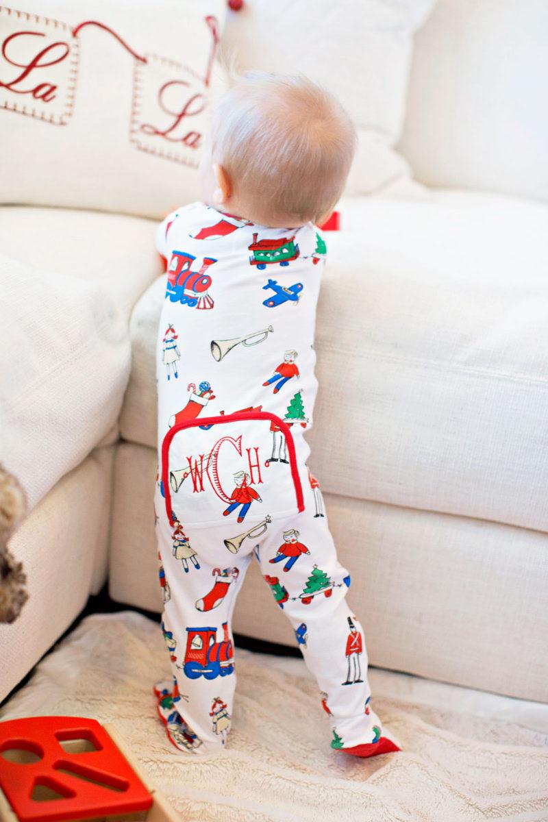 monogrammed baby boy Christmas pajamas