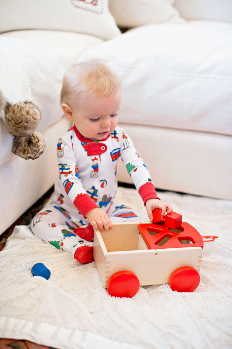 baby boy Christmas pajamas, wooden block cart