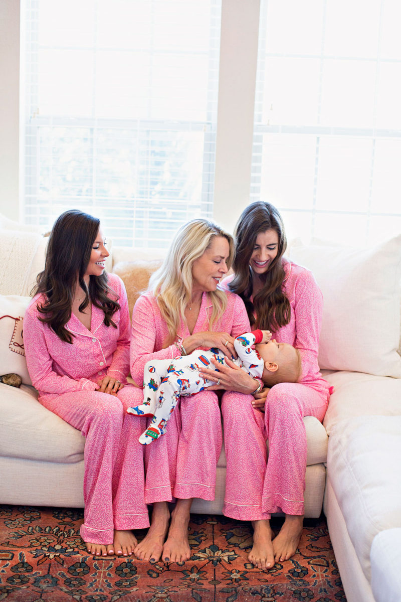 pink Christmas pajamas, baby boy Christmas pajamas